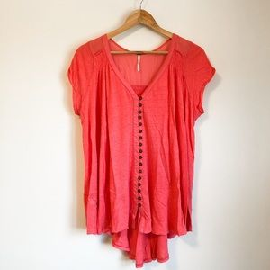 Free People coral flowy loose style tunic Sz. S